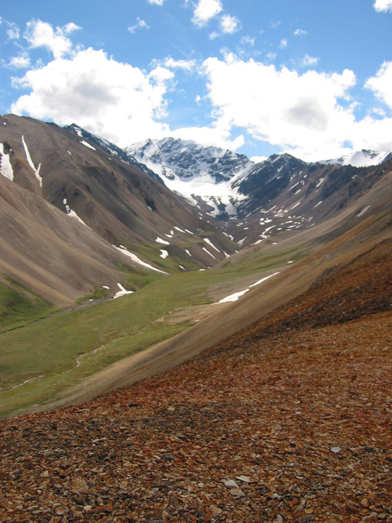 One of the Polychrome Glaciers, from a nearby ridge
