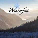Park landscape with Winterfest logo