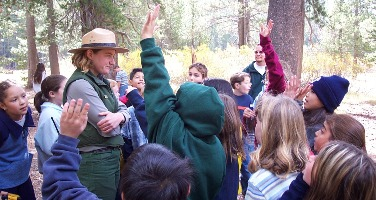 Students participate in a ranger led program
