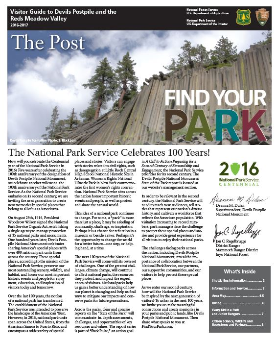 Front page of 2016 The Post Newspaper, featuring an image of the postpile