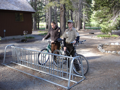 Bicyclists can park their bikes at the bike rack provided adjacent to the Ranger Station.