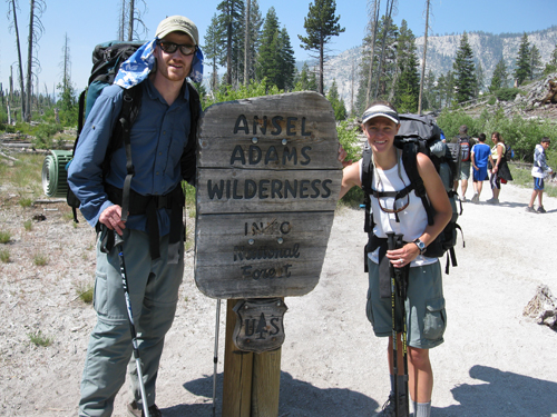 Backpackers enter the Ansel Adams Wilderness.