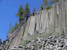 Devils Postpile as viewed from the base of the formation.