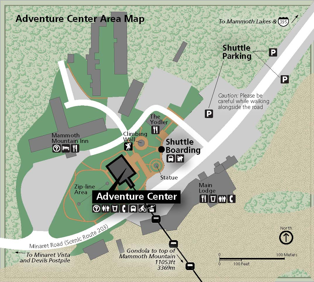 View a map of the Adventure Center and parking areas.