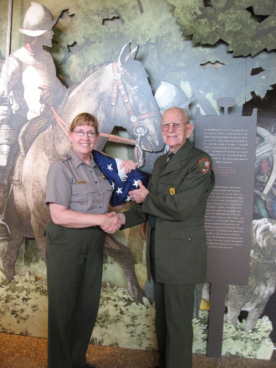 Ninety-two year old Bernie Harris has been a ranger and volunteer at De Soto National Memorial since 1972.