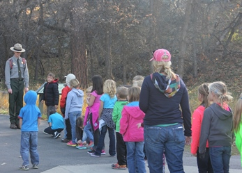 Group of 2nd graders lines up for their ranger-guided hike