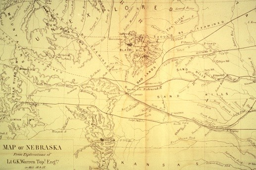 A government survey map from 1857 of the Black Hills region
