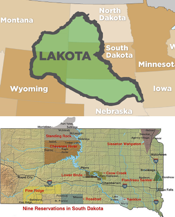 Two images comparing modern Lakota reservations and historic land claims
