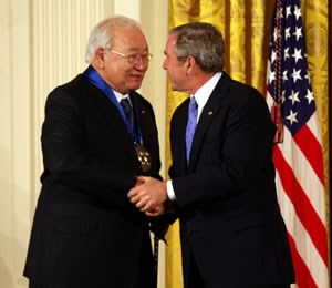 Kiowa author N. Scott Momaday receives the National Medal of Arts from President George W. Bush in 2007