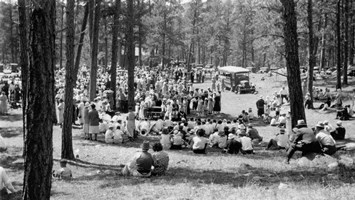 Historic photo of gathering at the park