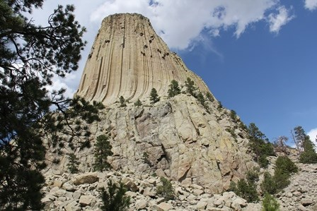 Close up view of the southwest shoulder of Devils Tower