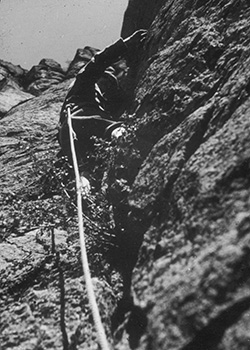 Fritz Wiessner leading the first technical rock climb at the Tower