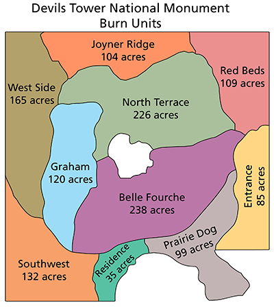 A map showing the different burn units of the park