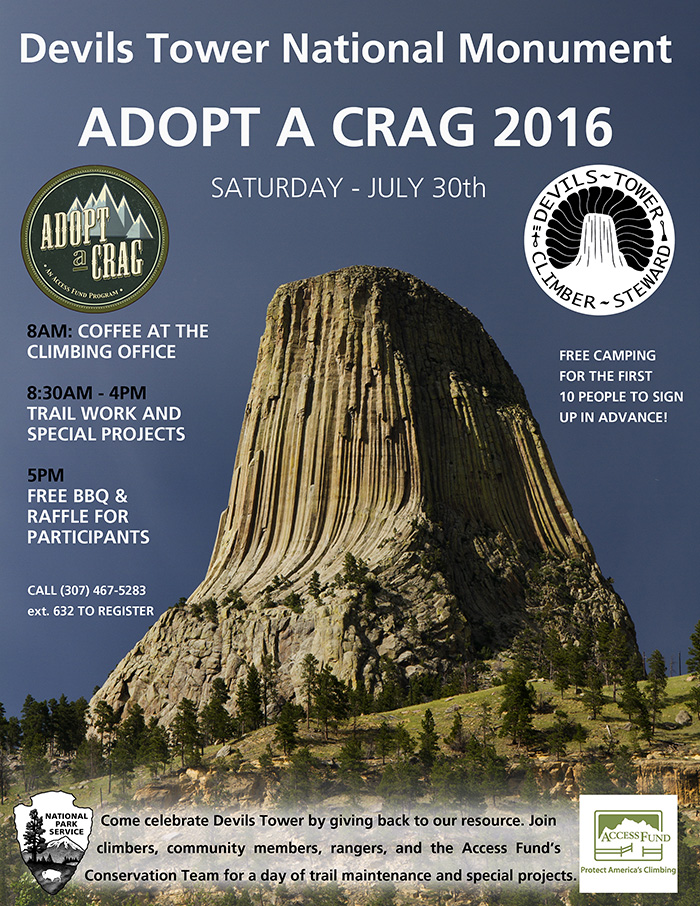 Flyer showing Devils Tower and information about event