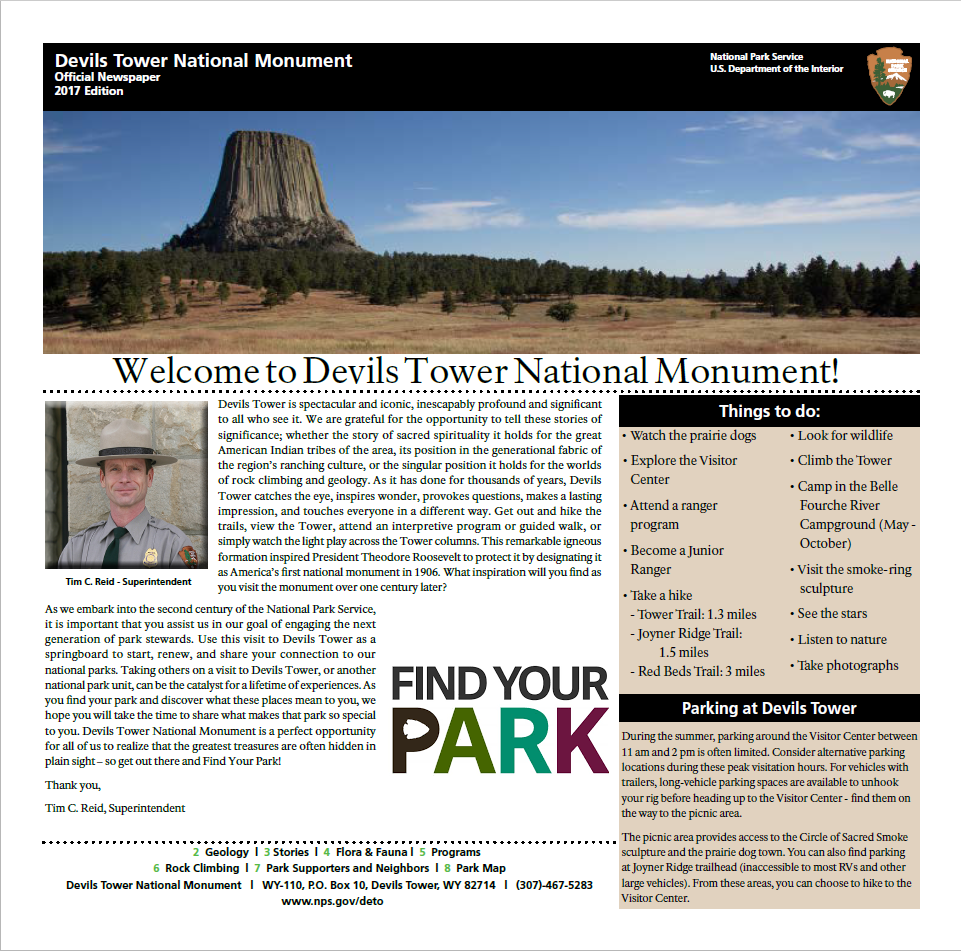 A picture of the 2017 Devils Tower Newspaper front page.