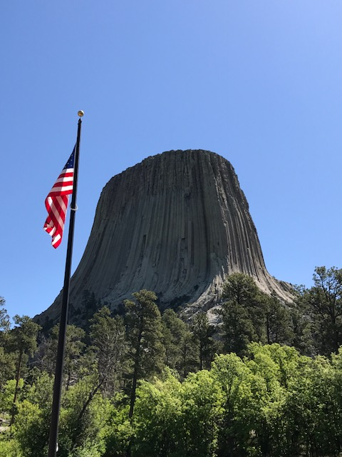 Devils Tower with US Flag
