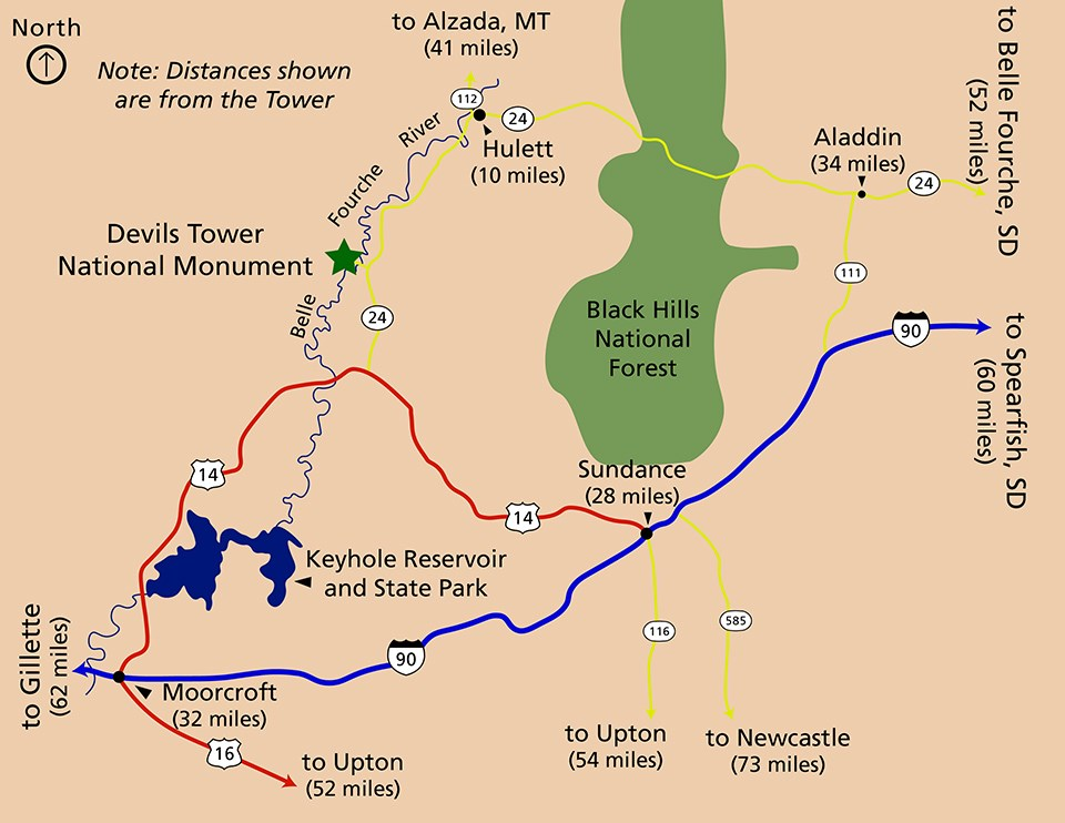 A map of the area roads around Devils Tower