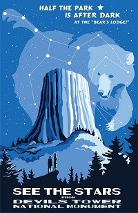 Poster showing the Tower and bear constellation above
