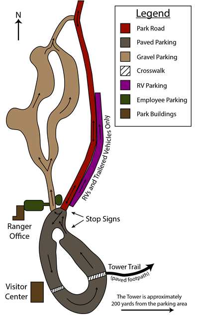 A diagram of the park's main parking areas