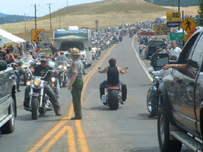 Line of traffic at park's entrance station during Sturgis Rally.