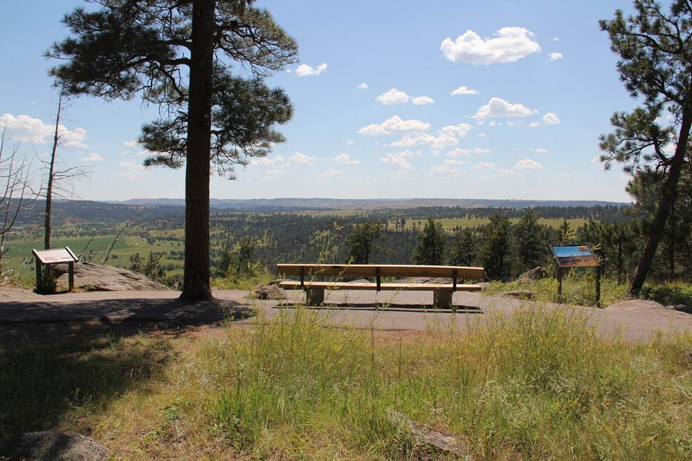 A bench overlooking a valley