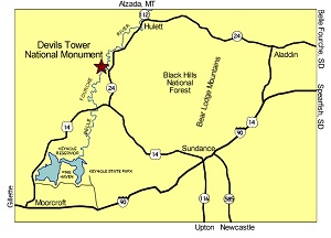 Local area map. Contains all features and places within 30 minutes of Devils Tower National Monument