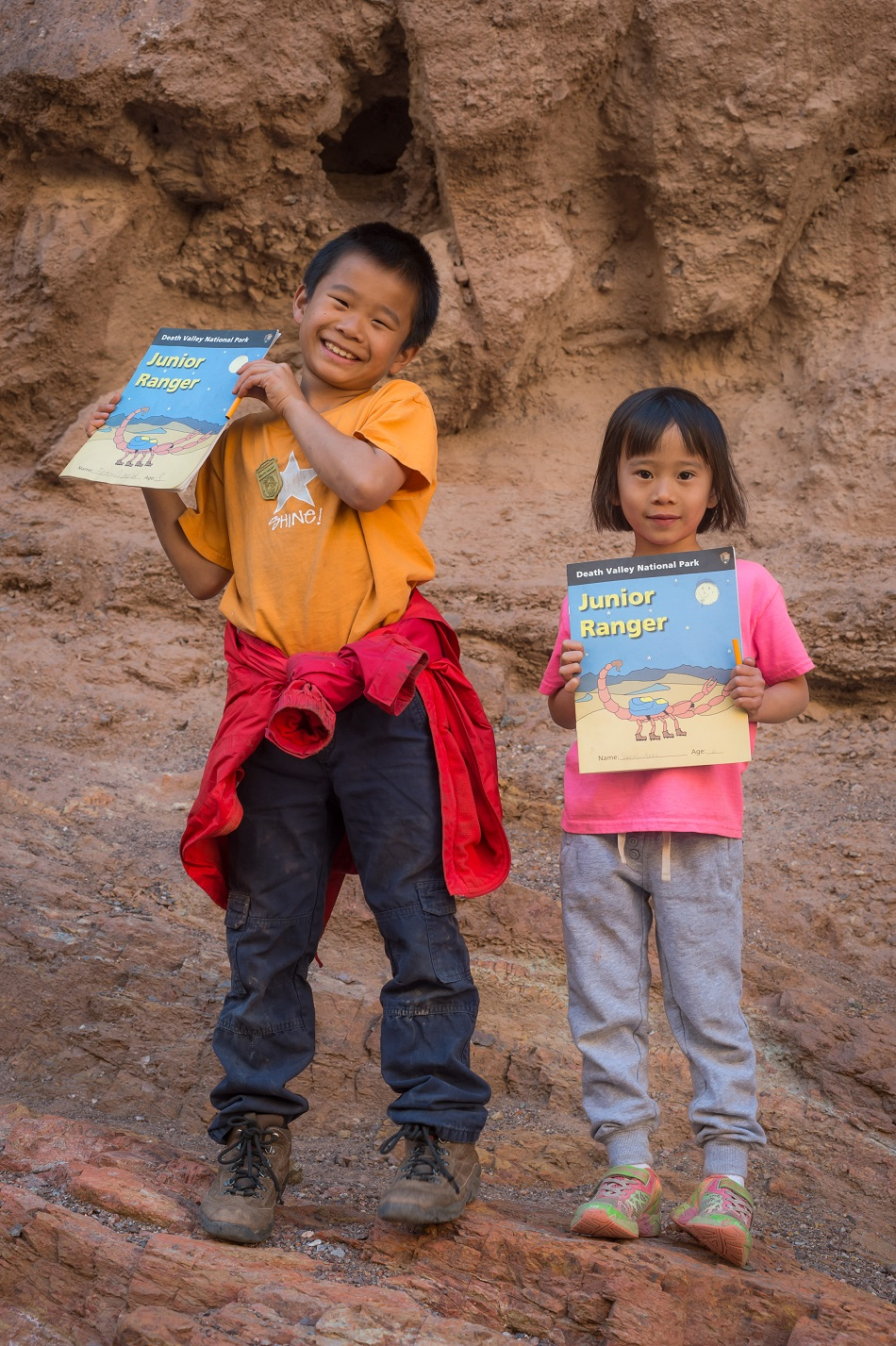 Children with Junior Ranger books.
