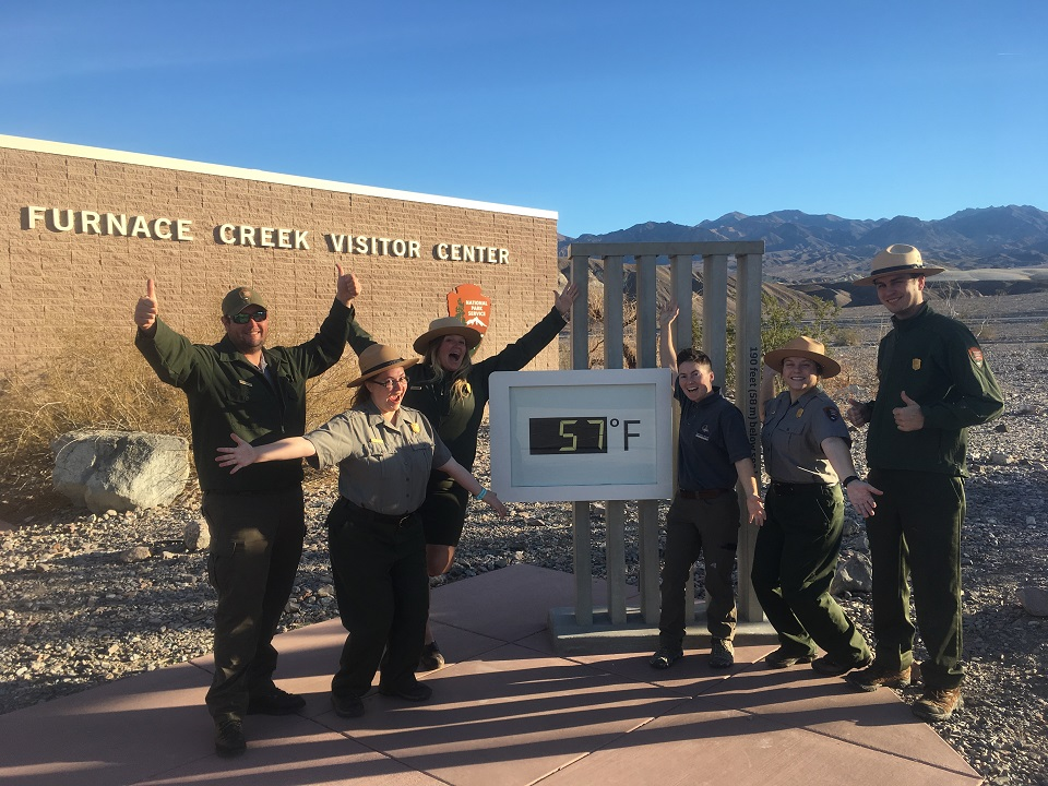 NPS staff outside Furnace Creek Visitor Center on the morning of January 26.