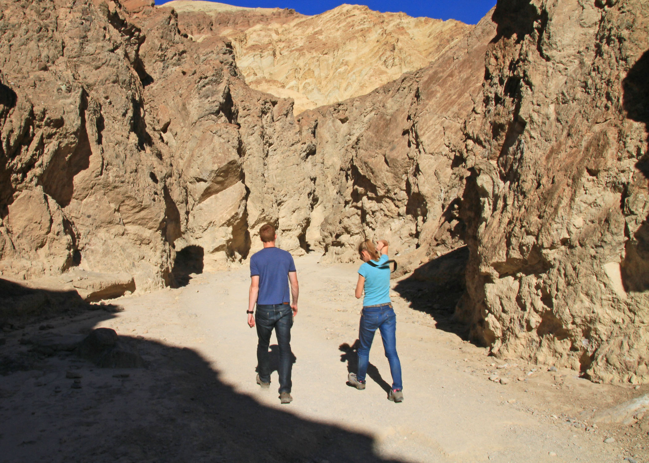 Hikers in Golden Canyon