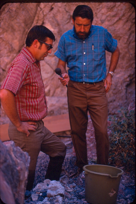 Dr. Jim Deacon (left) giving an interview at Devils Hole in August 1970