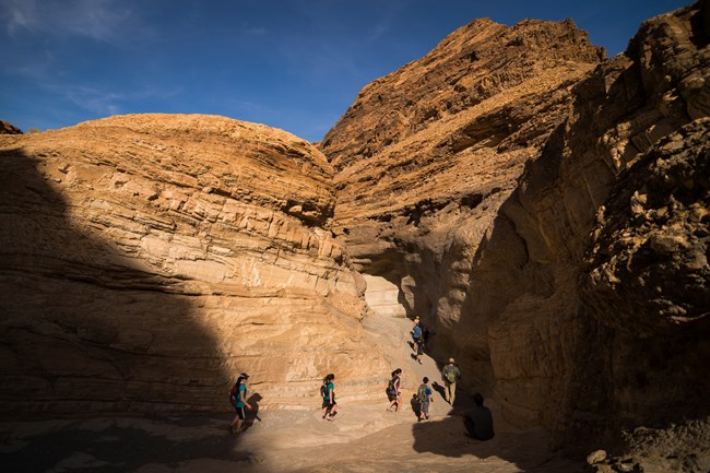 Visitors hike through a canyon with tall smooth walls.