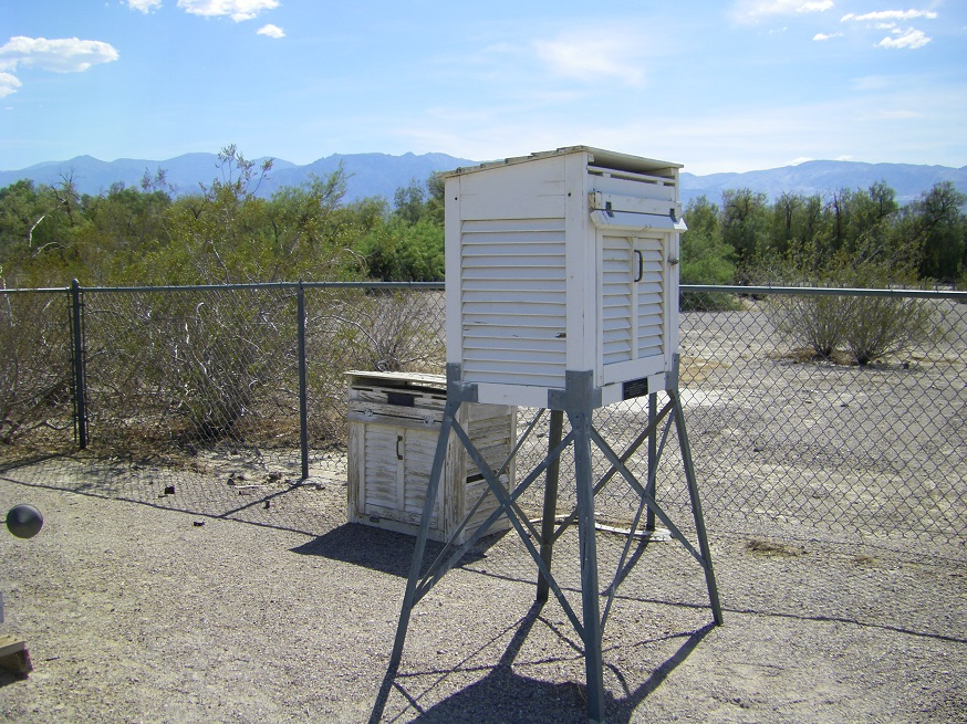Weather station at Furnace Creek is in a white, ventilated box about 4 feet off the ground.