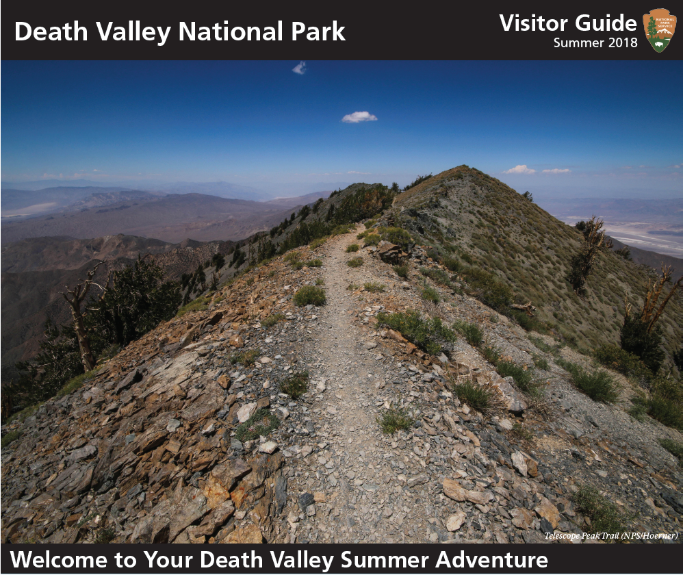 "A picture of a newspaper with Death Valley Visitor Guide on the top, a middle photo of a rocky ridge line trail overlooking the desert and below the writing, ""Welcome to your Death Valley Summer Adventure."""