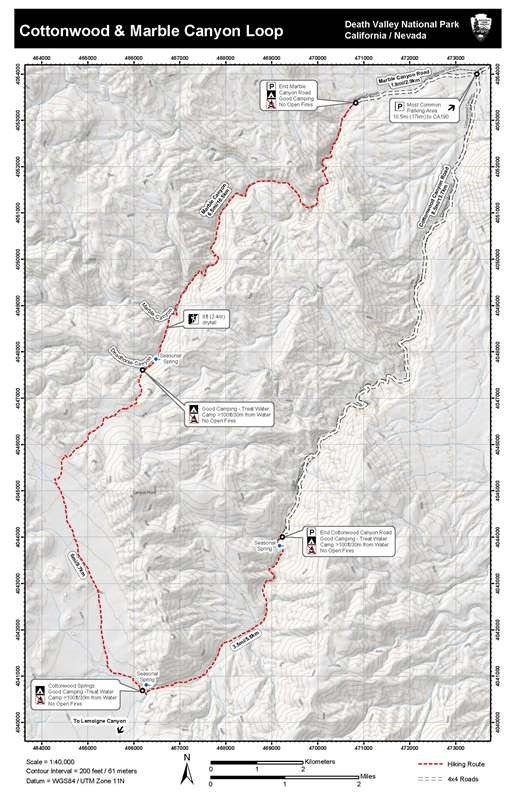 Image of topographic map used to hike Cottonwood and Marble Canyons as a loop.