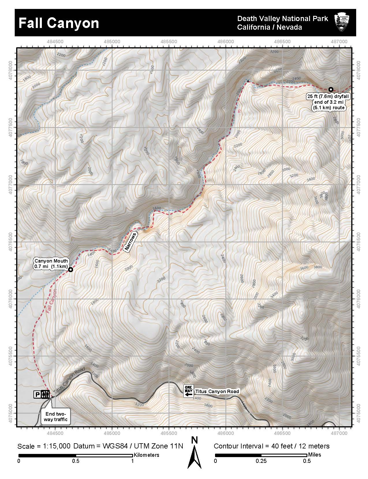 Topographic Map Of Fall Canyon Death Valley National Park