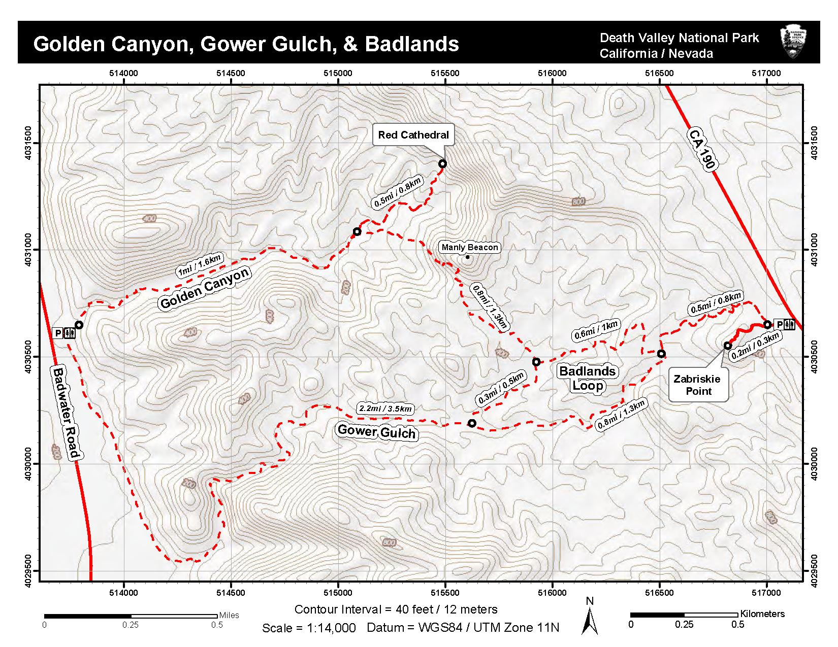 Golden Canyon Gower Gulch Badlands Death Valley National Park