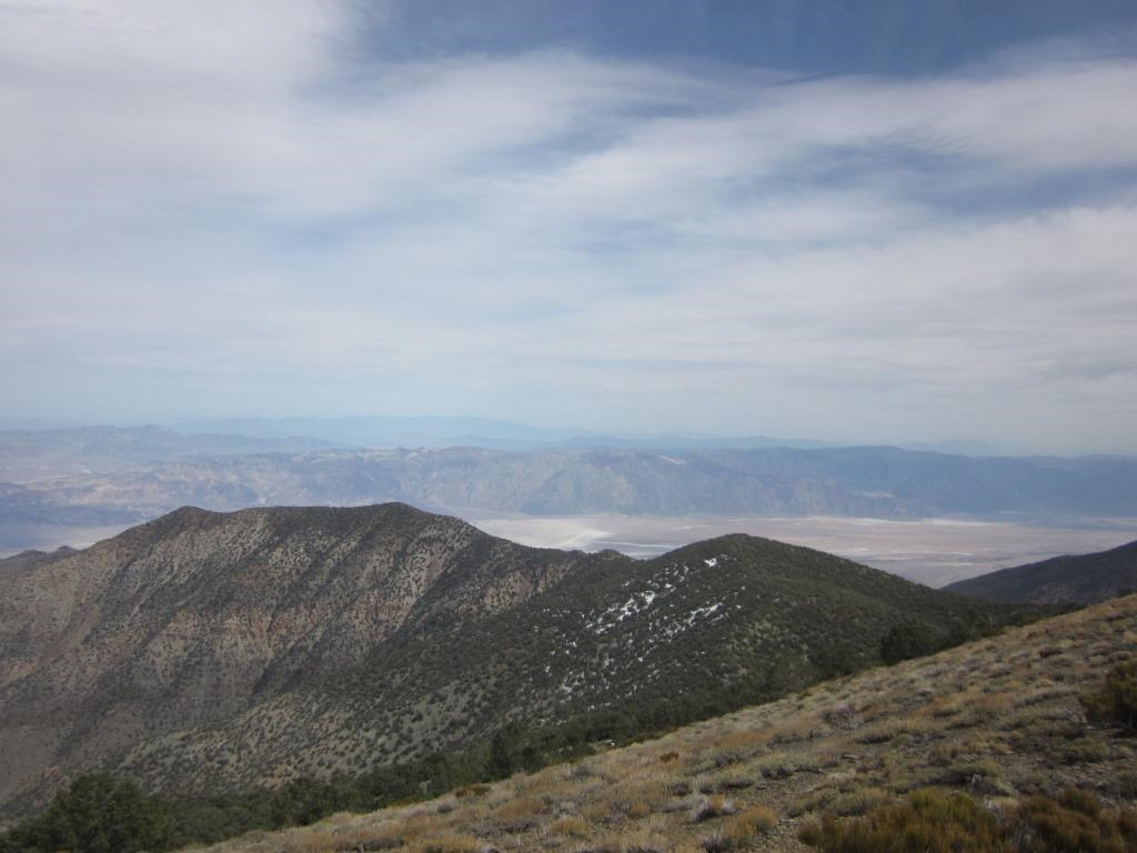A forested ridge leads out to a desert valley with mountains in the distance.