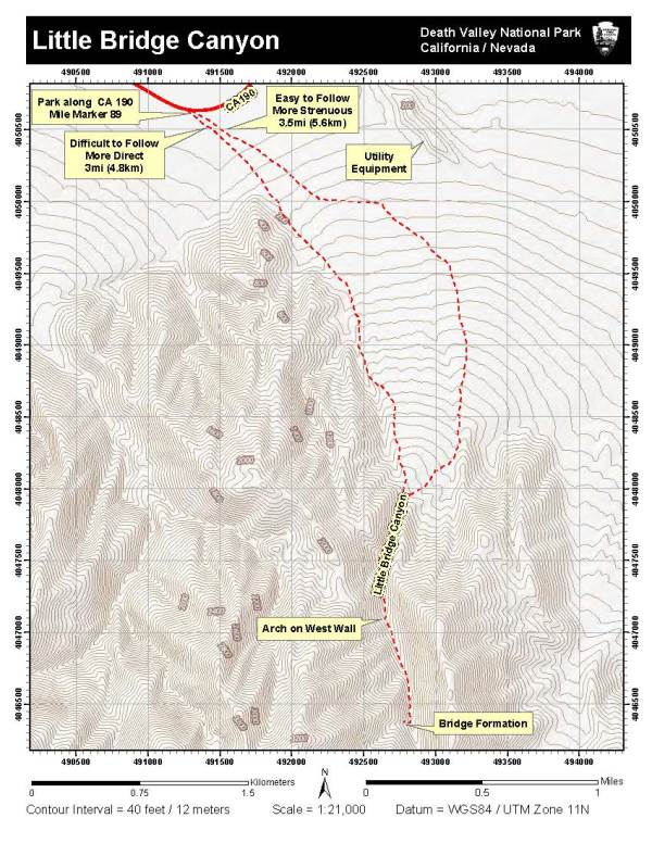 Image Of Topographic Map Of Hiking Into Little Bridge Canyon