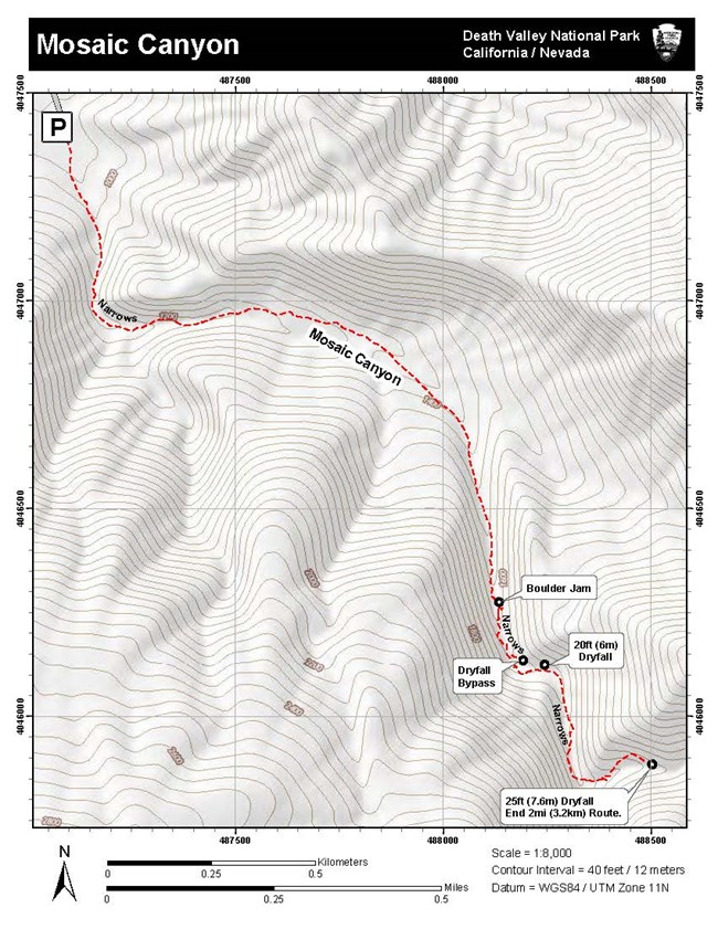 Topographic Map of Mosaic Canyon