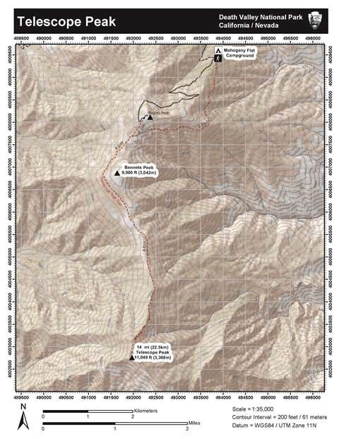 Image of a topographic map to Telescope Peak.