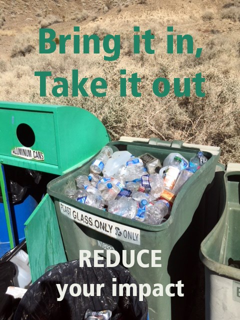 "An image of a full trash can with the words, ""bring it in, take it out; reduce your impact"""