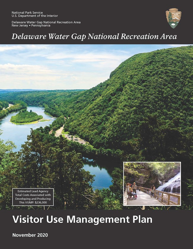 Cover page of the Visitor Use Management Plan. Photo of the Delaware River and Mt. Tammany with a black bar with text above and below the photo.