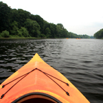 View downstream from a kayak