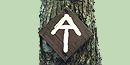 "The ""AT"" symbol routed on a wood sign on a tree."