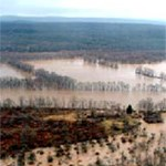 flooded floodplain of a river from high viewpoint