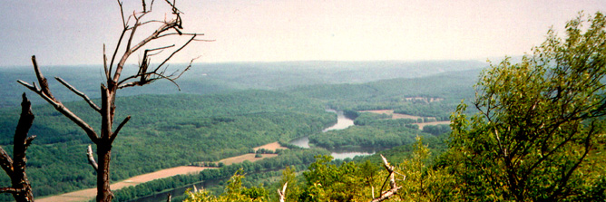 A forested river valley seen from a mountain top