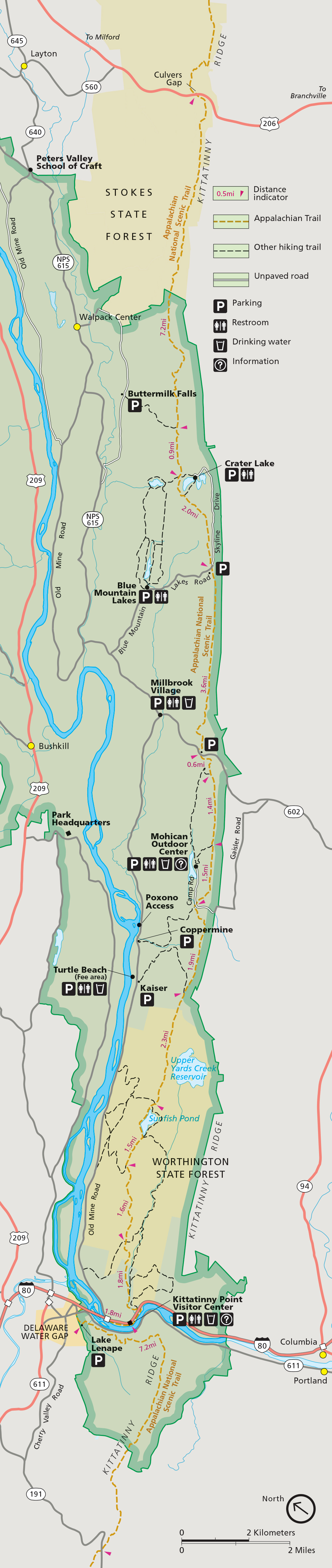 appalachian national scenic trail  delaware water gap national  - appalachian trail map high resolution