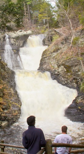 two people viewing waterfall