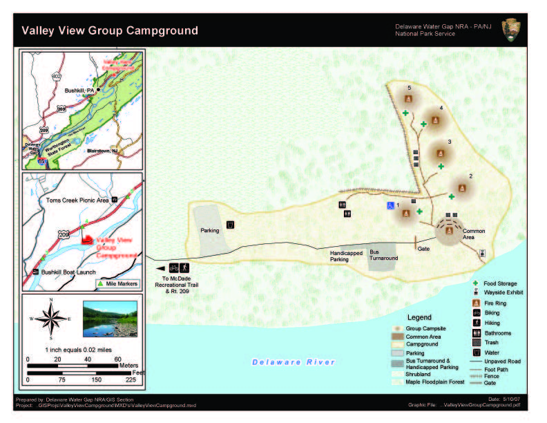 Delaware Water Gap Camping Map on