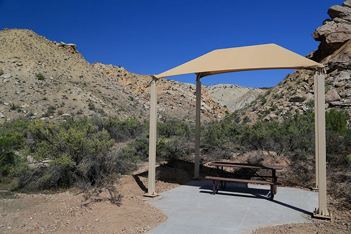 photo of a shade structure at the Quarry Visitor Center
